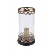 Подсвечник/ваза Hurricane, на деревянной резной базе