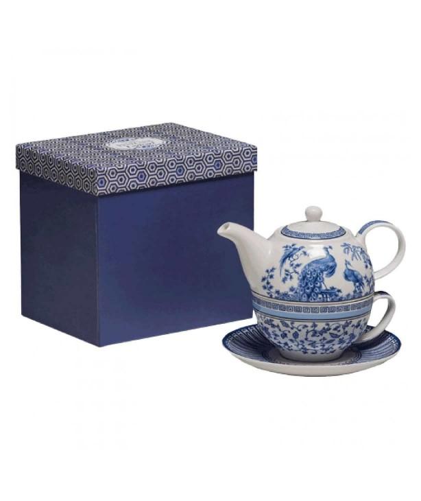 Набор для чая: чашка, блюдце, заварный чайник English Blue
