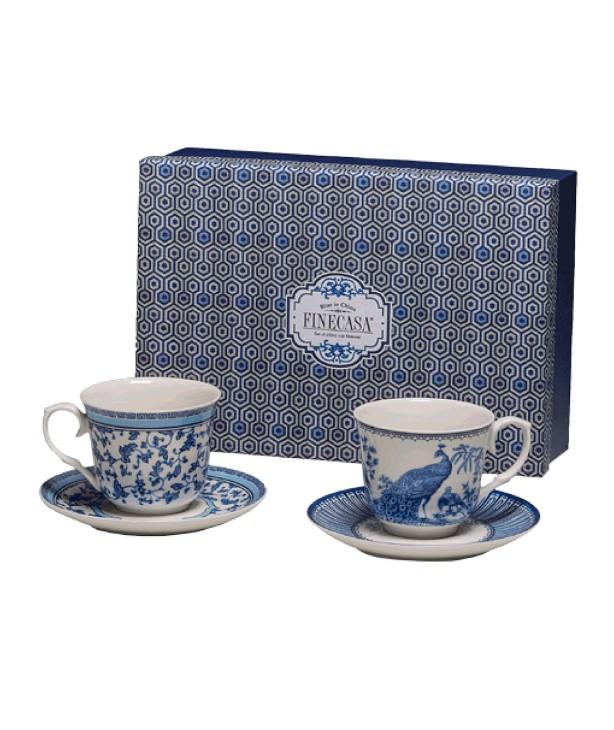 Пара чайных чашек с блюдцами, подарочный набор English Blue