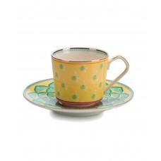 Чашка с блюдцем, желтая