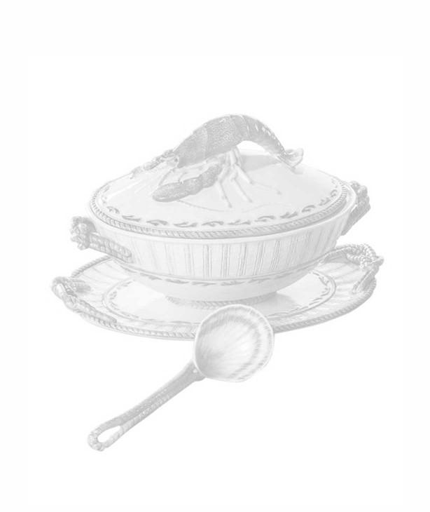 Супница с подставным овальным блюдом и разливной ложкой Яхта