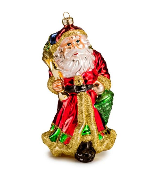 Фигурка Деда Мороза с подарками дутое стекло