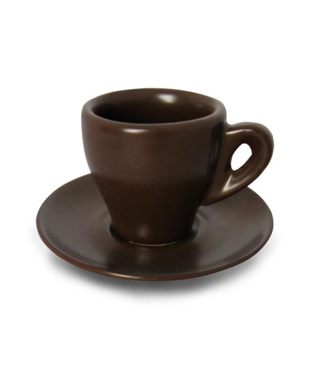 Чашка с блюдцем 60 мл, коричневая