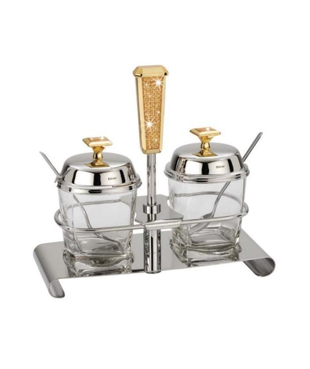 Набор для меда и джема с ложкой Mercury Gold