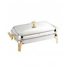Прямоугольное блюдо с подогревом Mercury Gold