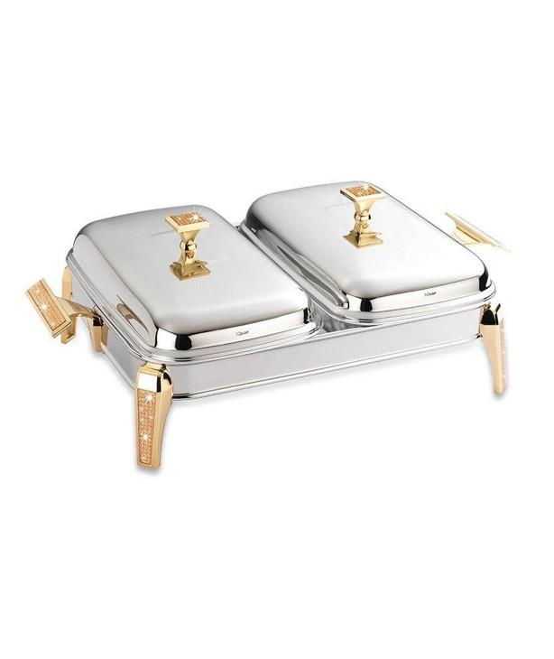 Блюдо с подогревом прямоугольное двухсекционное Mercury Gold