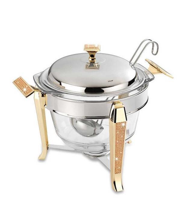 Супница с разливной ложкой с подогревом Mercury Gold