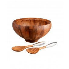 Чаша деревянная Yaro для салата с кулинарными ложками