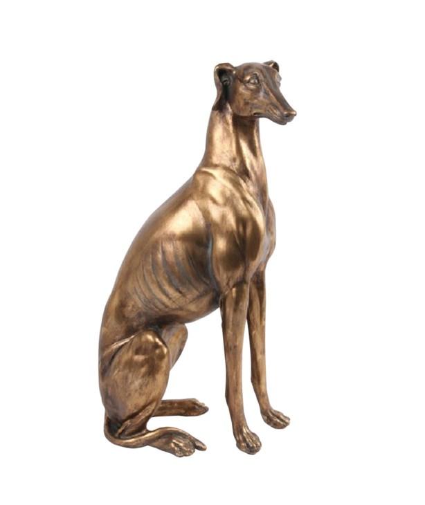 Скульптура кабинетная Сидящая Гончая под бронзу