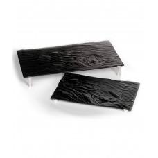 Блюдо прямоугольное на ножках, черное стекло Bark