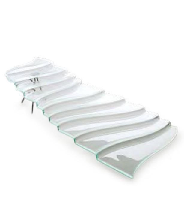 Фуршетная лестница 680*450 мм, прозрачное стекло Step Falls (Прокат)