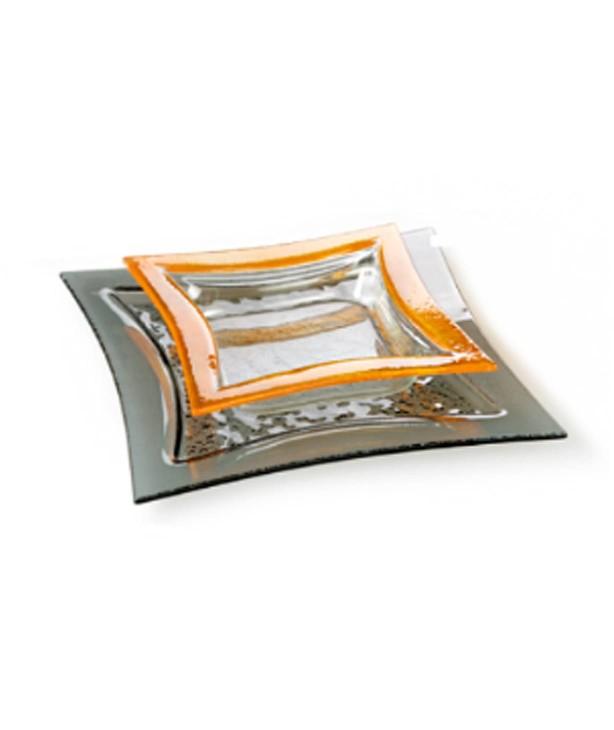 Блюдо квадратное 320*320 мм, дымчатое стекло Luk (Прокат)
