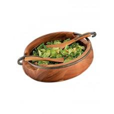 Чаша деревянная овальная Anvil для салата, с кулинарными ложками
