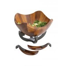Чаша деревянная для салата Anvil на металлической базе, с кулинарными ложками