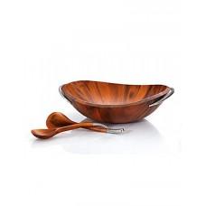 Чаша деревянная Braid для салата с кулинарными ложками