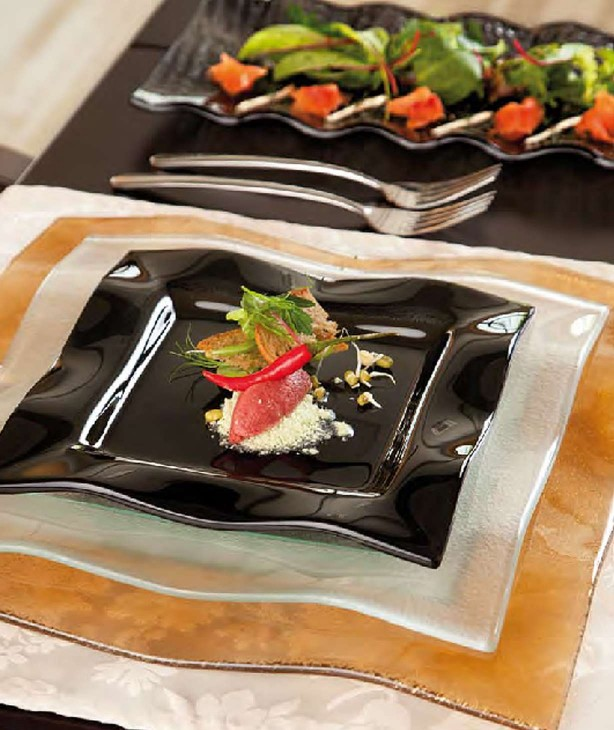 Блюдо для презентации 345*150 мм, черное стекло Wrapy